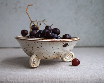 Handmade Berry Bowl, Fruit Colander, Rustic White Pottery, Unique Design, Fun Gift for Holidays, Kitchen Decor.