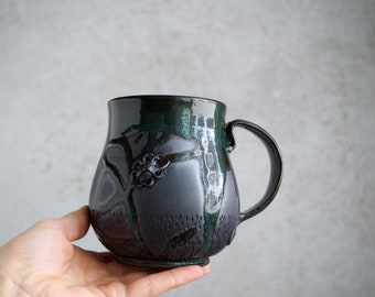 "Handmade Ceramic Mug, ""Turquoise Night"" Mug, 20 oz, Beetle Large Size Mug, Unglazed Black Clay, Drips of Glaze, Nature Inspired Ceramics"