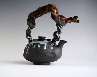 Handmade Ceramic Teapot, Drippy Glaze, Wooden Handle, Bark Wood Texture, 22 oz, Exclusive Pottery, Nature Inspired Arts