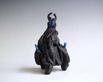 Handmade Ceramic Kurinuki Box, Black Porcelain Jar, Beetle Sculpture, Nature Inspired Arts, Textured Canister, Quartz Crystals.