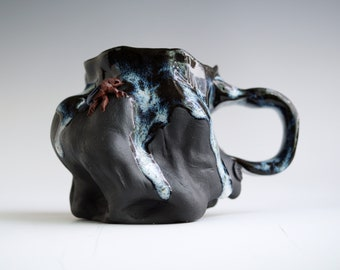 Handmade Ceramic Mug, Drips of Glaze, Beetle mini Sculpture, 10 oz, Black Clay Porcelain, Nature Inspired Ceramics, Pottery Gift Him Her #7