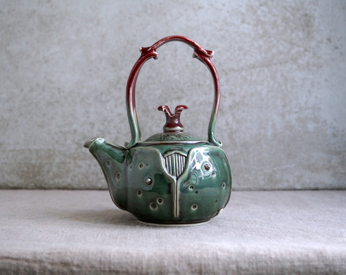 Featured listing image: Handmade Ceramic Teapot, Porcelain Exclusive Art, Beetle Theme Collection, 22 oz, Unique Tea Ceremony Gift, Nature Inspired Ceramics Art,