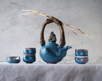 Handmade Ceramic Tea Ceremony Set, Six Pieces, Exclusive Volcanic Glaze, Cups, Woven Reed Teapot, Nature Inspired Pottery, 20 oz