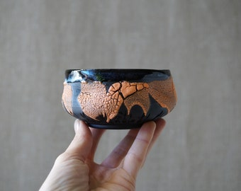 Handmade Ceramic Matcha Bowl, 8 oz, Chawan, Tea Cup, Unique Crackle Glaze, Porcelain, Ceramic Art, Tea Ceremony Gift