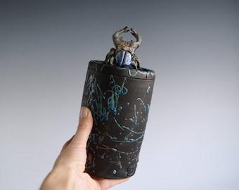 Handmade Raku Jar, Unique Raku Ceramics, Beetle Lid Handle, Art Object, Crackle Raku Glaze, Lidded Canister, Secret Jar, Porcelain Art, Gift