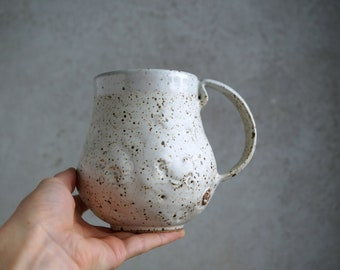 Handmade Ceramic Mug, White Matte Speckled Glaze, 22 oz, Large Size Mug, Nature Inspired Ceramics