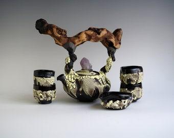 Handmade Ceramic Teapot Set, Tea Ceremony, Seven Pieces, Exclusive Crackle Glaze, Cups, Spoon Quartz Crystal, Nature Inspired Pottery, 20oz