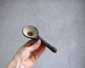 """Handmade Ceramic Spoon, 5 1/2"""", Ceramic Arts, Rustic White Glaze, Home and Kitchen Decor, Pottery Gift for Her/Him"""