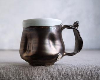 Handmade Ceramic Mug, Tiny Imperfection Inside-Pic # 2, Rustic Gold Glaze, Metallic, 8 oz, Pottery Gift, One of the Kind Piece #1