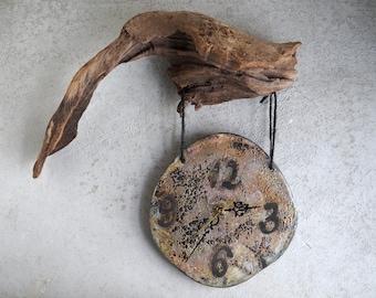 Handmade Raku Clock, Ceramic Clock, Wooden Hanging Clock, Moon Dust Glaze , Cracked Raku Technique, Wall Hanging Home Decor, Rustic Gift