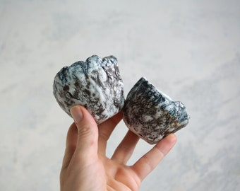 Handmade Set of Two Cups, Ceramic Tea Cups, 3 oz, Shot Cup, Bark Texture, One of the Kind Ceramic Arts