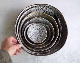 Handmade Ceramic Set of 6 Bowls, Serving Dish, Black Sea Series, Beautiful Organic Shape, Stacking Bowls, Nature Inspired Ceramic Art