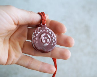 "Handmade ""OM"" Pendant, Ceramic Necklace, Unique Yoga Lover Gift, Red Pendant, Organic Shape, OM Symbol Gift"