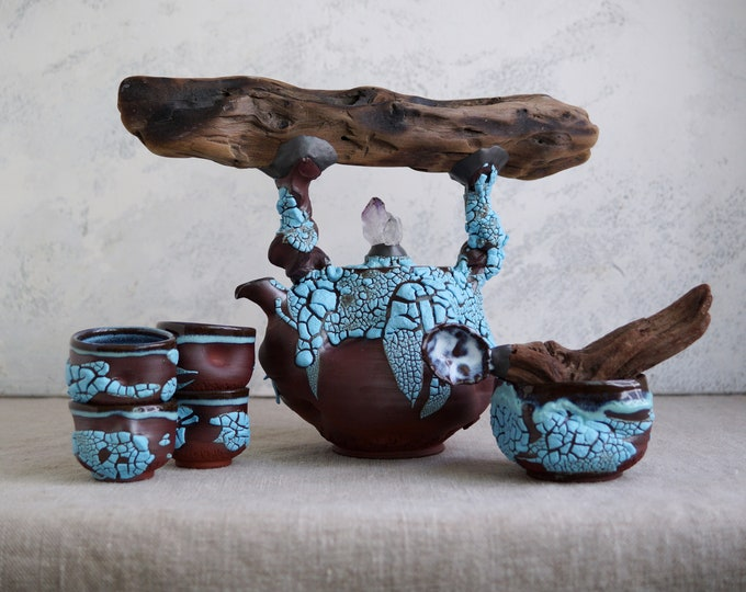 Featured listing image: Handmade Ceramic Teapot Set, Tea Ceremony, Seven Pieces, Exclusive Crackle Glaze, Cups, Wood Handled Spoon, Nature Inspired Pottery, 24oz