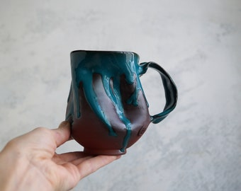 Handmade Ceramic Mug, 12oz, Unglazed Terracotta Clay, Drips of Glaze, One of the Kind Piece