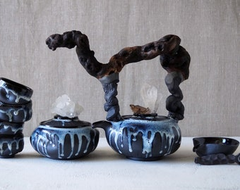Handmade Ceramic Tea Ceremony Set, Eight Pieces, Exclusive Crackle Glaze, Cups, Wood Handled Teapot, Nature Inspired Pottery, 24 oz