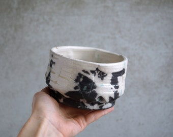 Handmade Raku Bowl, Porcelain Art, Unique Raku Ceramics, One of The Kind Art Object, White Crackle Glaze, Tea Bowl, Tea Ceremony Gift
