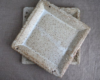 Handmade Ceramic Set of 2 Plates, Serving Dish, Speckled White Glaze, Square Plate, Food Photography Props, Unique Design, Rustic Dinnerware