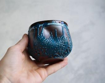 Handmade Ceramic Cup, Mug, Vine/Sangria Cup, Perfect Gift,  Beads Texture, 7 oz, Ceramic Arts, One of the Kind Piece #4