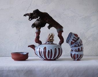Handmade Ceramic Teapot Set, Malibu Driftwood Handle, Coral on The Lid, Nature Inspired Pottery, 20oz