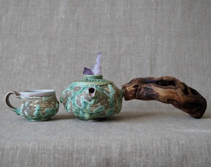 Featured listing image: Handmade Ceramic Teapot & Mug Set, Unique Glaze, Wooden Handle, Amethyst Crystal, Side Handled Teapot, 10 oz, Tea Ceremony Gift