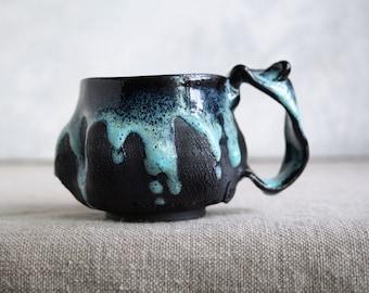 Handmade Ceramic Mug, 8 oz, Bark Texture, Unglazed Black Clay, Drips of Glaze, One of the Kind Piece
