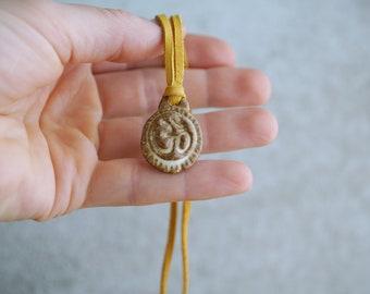 "Handmade ""OM"" Pendant, Ceramic Necklace, Unique Yoga Lover Gift, Rustic White Pendant, Organic Shape, OM Symbol Gift"