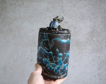 Handmade Raku Jar, Unique Raku Ceramics, Beetle Lid Handle, Art Object, Crackle Raku Glaze, Lidded Canister, Secret Jar, Porcelain Art, Gift