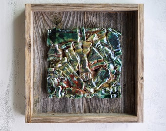 Handmade Raku Wall Arts, Ceramic Chess Arts, Wooden Frame, Cracked Raku Technique, Wall Hanging Home Decor, Rustic Gift