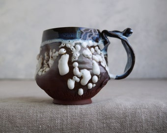 Handmade Ceramic Mug, 12oz, Unglazed Terracotta Clay, Beads Glaze, One of the Kind Piece