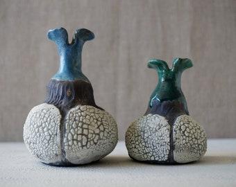 Handmade Raku Vessels, Set of Two, Ceramic Beetle Vases, Unique Home Decor, Rustic Raku, Crowing Glaze, Housewarming Gift, Artful Pottery