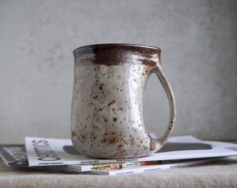 Handmade Ceramic Mug, White Shino Glaze, 16 oz, Large Size Mug, Nature Inspired Ceramics