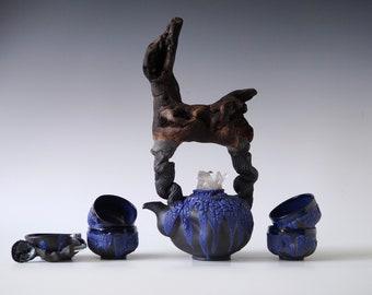 Handmade Ceramic Tea Ceremony Set, Seven Pieces, Cobalt Crackle Glaze, Cups, Wood Handled Teapot, Nature Inspired Pottery, 16 oz
