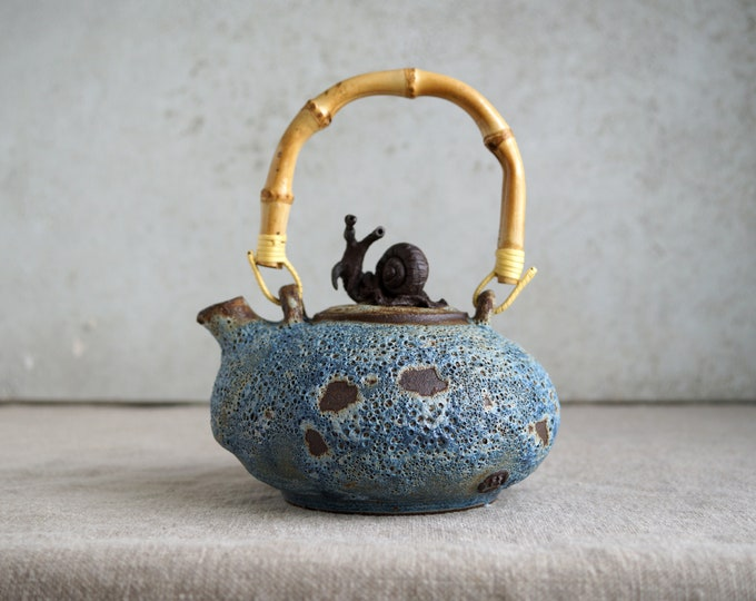 Featured listing image: Handmade Ceramic Teapot, Volcanic Lava Texture, 16 oz, Iceland Nature Inspiration, Unique Holiday Gift for Tea-Ceremony Lovers.