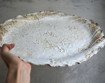 Handmade Ceramic Bowl, Oval Serving Dish, White Shino Glaze, Floral Pattern, One of the Kind Pottery Gift