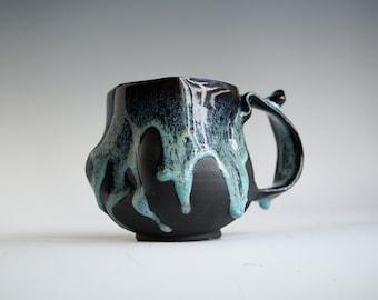 Handmade Ceramic Mug, 12oz, Unglazed Terracotta Clay, Drips of Glaze, One of the Kind Piece