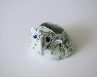 Handmade Succulent Planter, Unique Whimsical Cacti Pot, Ceramic Housewarming Piece, Porcelain, Ceramic Art Sculpture Pottery Gift #1