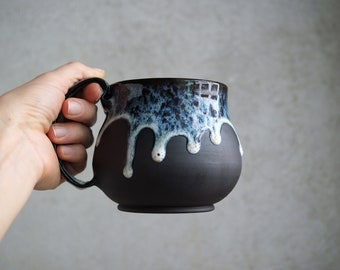 "Handmade Ceramic Mug, ""Seafoam Whisper"" Mug, 16 oz, Beetle Large Size Mug, Unglazed Black Clay, Drips of Glaze, Nature Inspired Ceramics"