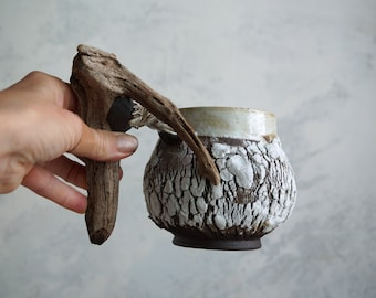 Handmade Ceramic Mug, Wooden Handle, Bark Texture Mug, 16 oz, Ceramic Arts, Unique Pottery Gift, White-Brown Cracks, One of the Kind Piece