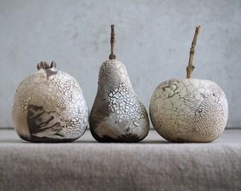Raku Ceramic Fruits, Lizard Skin Glaze, Porcelain Ceramic Arts, Rustic Fruits Set, Unique Home Decor, Handmade Housewarming Gift