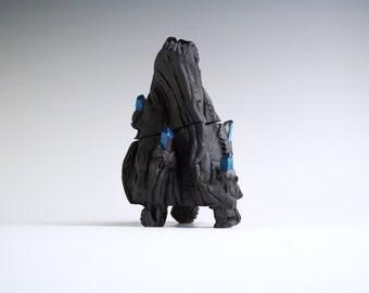 Handmade Ceramic Kurinuki Box, Black Porcelain Jar, Nature Inspired Arts, Textured Canister, Quartz Crystals.