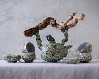 Handmade Ceramic Tea Ceremony Set, Seven Pieces, Exclusive Volcanic Glaze, Cups, Wood Handled Teapot, Nature Inspired Pottery, 20 oz