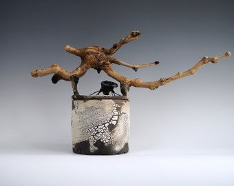 Handmade Raku Vessel, Raku Arts, Beetle Wooden Handle Jar, Unique Ceramic, One of The Kind Art Object, Crackle Raku Glaze, Gallery Art Piece