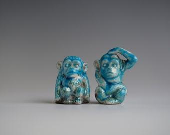 Handmade Raku Monkey Set of Two, Ceramics Art Home Decor, Bright Blue Raku, Unique  Housewarming Gift, Porcelain, Contemporary Art