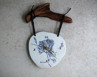 Handmade Ceramic Clock, 22K Gold Luster Clock, Cobalt Blue Imprint, Wood Wall Hanging Clock, Blue Home Decor, Unique Fun Gift