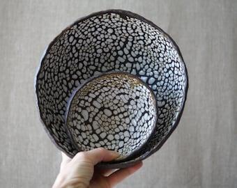 Handmade Ceramic Set of 2 Bowls, Serving Dishes, Dry Black Sea Glaze, Beautiful Organic Shape, Nature Inspired Ceramic Art #2