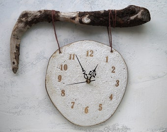 Handmade Ceramic Clock, Rustic Wall Hanging Clock, Real Wood Attachment, Volcanic Craters Texture, 22K Gold Luster, One of the Kind Gift