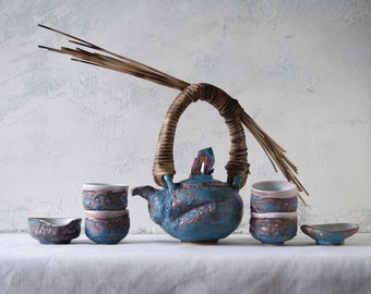 Handmade Ceramic Tea Ceremony Set, Seven Pieces, Exclusive Volcanic Glaze, Cups, Woven Reed Teapot, Nature Inspired Pottery, 20 oz