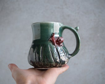 Handmade Ceramic Mug, Porcelain Mug, Snail Mini Sculpture, Bark Wood Texture, 14 oz, Green to Red Glaze, One of the Kind Piece