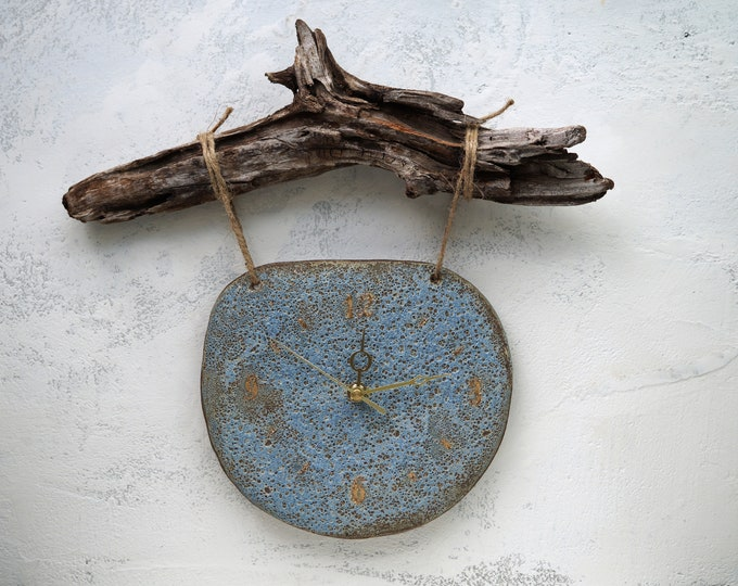 Featured listing image: Handmade Ceramic Clock, Rustic Wall Hanging Clock, Real Wood Attachment, Volcanic Craters Texture, 22K Gold Luster, One of the Kind Gift